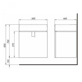 TWINS шафка під умивальник 60см, з одним ящиком, білий глянець (пол.)