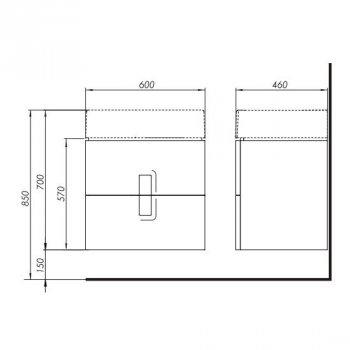 TWINS шафка під умивальник 60см, з двома ящиками, білий глянець (пол.)