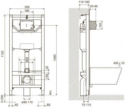 Інсталяція IMPRESE 3 в 1 i8120 + унітаз VILLEROY&BOCH Architectura DirectFlush 5684HR01 зі сидінням Soft Close 98M9C101