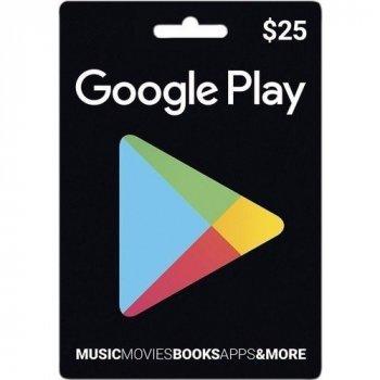 Электронный ключ Гугл Плэй / Google Play Gift Card пополнение бумажника счета своего аккаунта на сумму 25 usd, US-регион