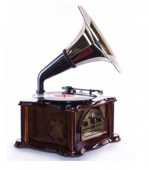 Ретро музичний центр Програвач і радіо Daklin Сінатра (Вініл/FM/MP3/AUX/USB/СD) Вишня