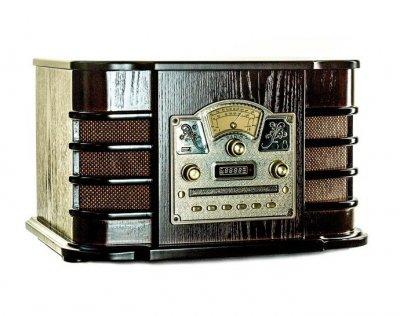 Ретро музыкальный центр Проигрыватель винила Daklin Даллас (AM/FM-стерео, USB/CD MP3, AUX, BT) дерево Шоколадный орех