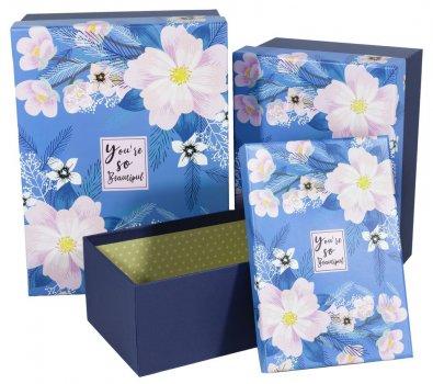 Подарункові коробки Unison прямокутні різнокольорові 29х22х13см 3 шт (B18-14)
