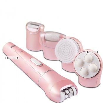 Епілятор домашній жіночий акумуляторний пінцетний багатофункціональний з насадкам 5в1 DSP IPX4 Рожевий (80015)