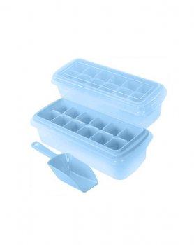 Форма для льда с контейнером и лопаткой Stenson 27*10 см голубая R82590