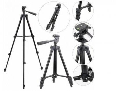Штатив универсальный для фотоаппарата и телефона трипод металлический TRIPOD 3120А черный 105 см + Bluetooth пульт