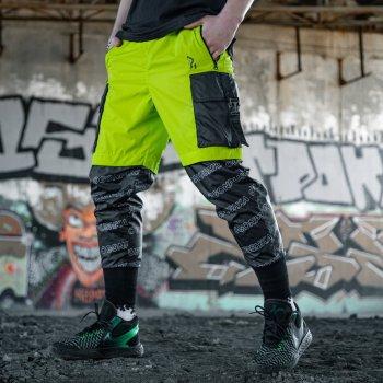 Спортивные штаны Пушка Огонь Andr черно-салатовые