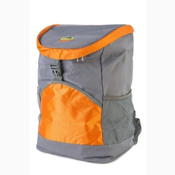 Термосумка + акумулятор холоду Green Camp, рюкзак холодильник, терморюкзак для пляжу, пікніка, відпочинку на 19,8 л Сірий з оранжевим