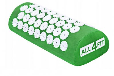 Набор коврик массажно-акупунктурный All4Fit с подушкой 40 х 10 х 15 см, зеленый (JS3768)