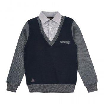 Джемпер обманка для мальчика сине-серый Арт. 6272 Cegisa