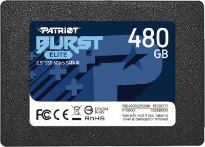 Накопитель SSD 480Gb Patriot Burst Elite, SATA3 (PBE480GS25SSDR)