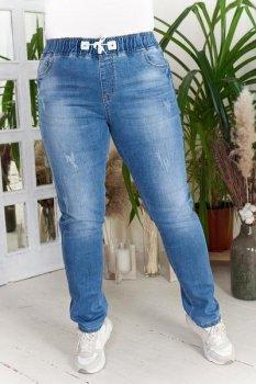 Джинсы женские потертые на резинке зауженные коттон Miss Podium Голубой