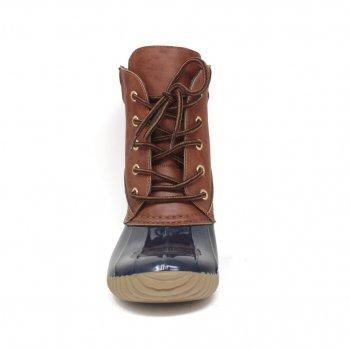 Сапоги Yoki Dylan-49 с меховым воротником на шнуровке, синий с коричневым