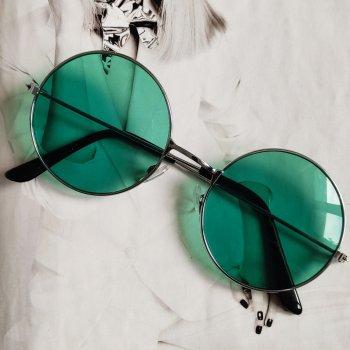 Солнцезащитные очки тишейды с цветной линзой Зеленый в серебре