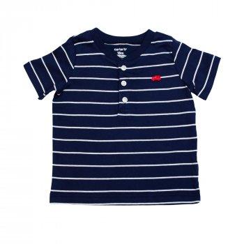Комплект для мальчика ( 1 шт ) Carter's синяя футболка-поло в белую полоску и красные шорты с машинками 1179