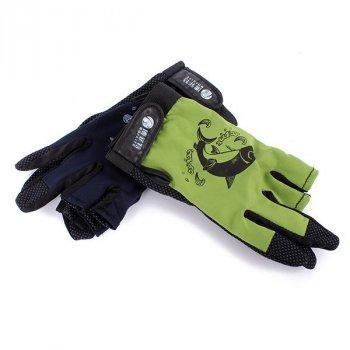Перчатки da de hua антискользящие для рыбалки и спорта зеленые с черным