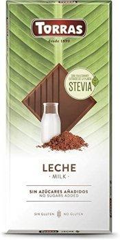 Шоколад молочный без сахара и глютена Torras Stevia Leche 100 г
