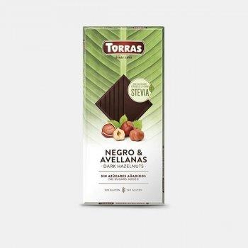 Шоколад черный без сахара и глютена с фундуком Torras Stevia 125 г