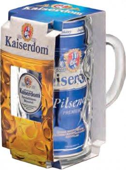Подарунковий набір пиво Kaiserdom Pilsener Krugset світле фільтроване 4.7% 1 л + кухоль 1 л (4004591137035)