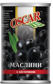 Маслины черные Oscar с косточкой 400 г (8413552051390)