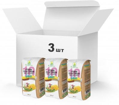 Набір Терра №20 Суміш пластівців 10 видів зернових швидкого приготування + гречані та житні висівки 500 г x 3 шт. (4820015738943)
