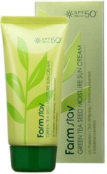 Защитный увлажняющий крем FarmStay Green Tea Seed Moisture Sun Cream SPF50+ PA +++ 70 г (8809426957651)
