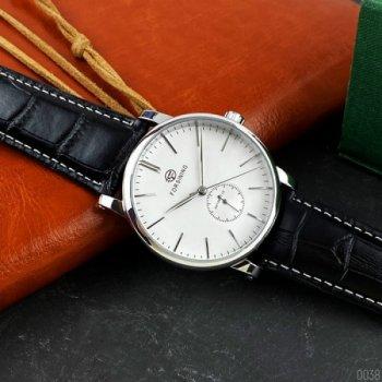 Мужские механичиские часы Forsining Silver наручные классические на кожаном ремешке + коробка (1059-0038)