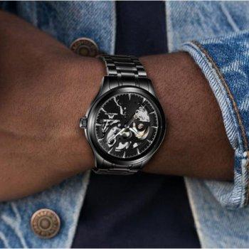Мужские механичиские часы Megalith Black наручные классические на стальном браслете + коробка (1088-0048)