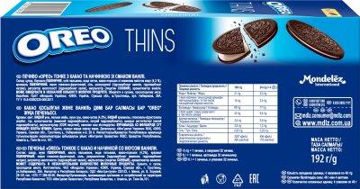 Печенье Oreo тонкое с какао и кремовой начинкой ванильного вкуса 192 г (7622210606105)