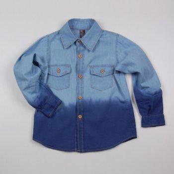 Сорочка двоколірна Z 30068-jeans джинс колір