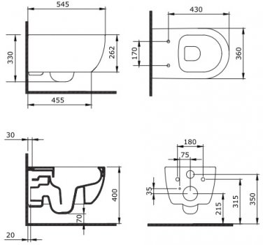 Унитаз подвесной DEVIT Art 2.0 3020140B безободковый CleanPro с сиденьем Soft Close дюропласт