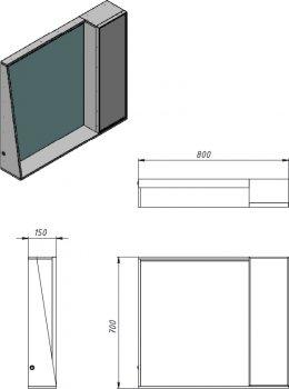Зеркальный шкаф JUVENTA Manhattan MnhМ-80 черный