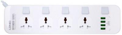 Сетевой фильтр-удлинитель LDNIO SC4408 4 розетки/4 USB 2 м White (SC4408)