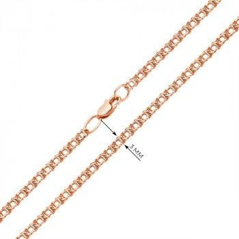 Браслет из красного золота в плетении арабский бисмарк, 3 мм 000002348 21.5 размера