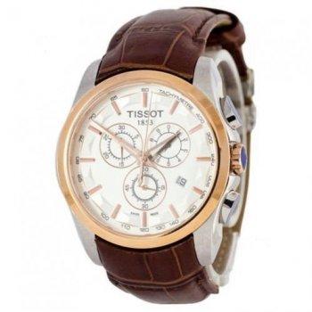 Часы наручные, мужские Tissot T-Classic Couturier Chronograph Коричневый-Золото-Белый