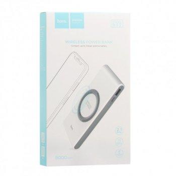Бездротове зарядний пристрій Павер банк бездротовий Hoco B32 (8000mAh) White