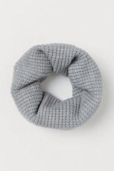 Вязаный шарф-труба H&M 35х55 Светло-серый (0902443007)