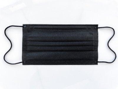 Медицинские маски чёрные трехслойные с зажимом для носа 50 шт. 05МАСКИ_50