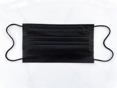 Маски медицинские чёрные 4х слойные с фильтром мельтблаун с зажимом для носа 50 штук. 09МАСКИ_50