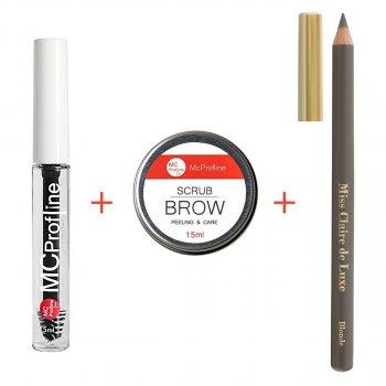 Набір косметики для брів Miss Claire Гель для брів + Пудровий олівець BLONDE + Скраб для брів 15 мл