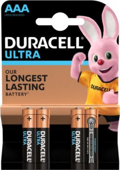 Щелочные батарейки Duracell Ultra Power AAA 1.5В LR03 4 шт (5000394062931)