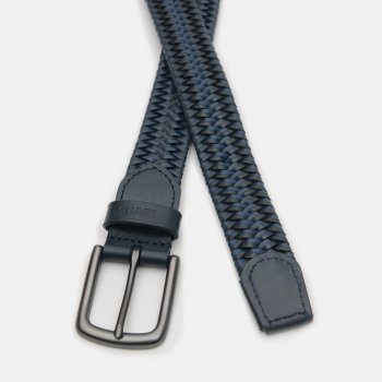 Мужской ремень кожаный Levi's Woven Leather Stretch Belt 233181-3-17 90 см Navy Blue (7613417704848)