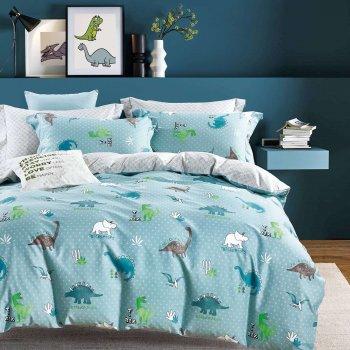 Комплект постельного белья Happy бязь динозавры на бирюзовом полуторный