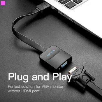 Перехідник Vention Flat HDMI-VGA, 0.2 м зі звуком і живленням (ACKBB) (43387608)
