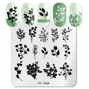 Пластина для стемпинга гілочки, рослини, листочки PY-F006