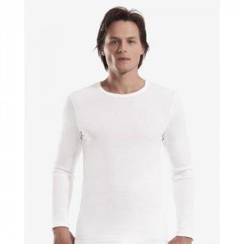 Чоловіча футболка з довгим рукавом (лонгслів) Oztas 1020-A біла 100% бавовна