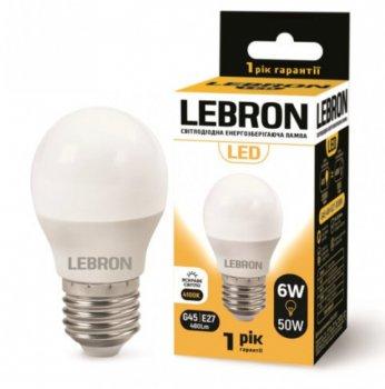 Лампа світлодіодна Lebron L-G45 6Вт Е27 4100К упак 10 шт.