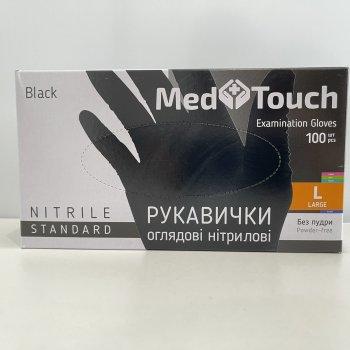 Перчатки нитриловые смотровые чёрные MedTouch (Малайзия) 100 шт/уп М