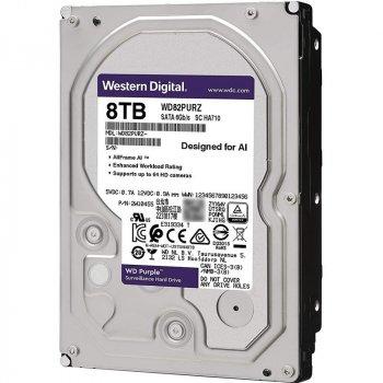 """Дисковий накопичувач внутрішній Western Digital Western Digital 3.5"""" Purple 8ТВ 3,5"""" SATAIII 5400 об/хв Сріблястий (WD82PURZ)"""