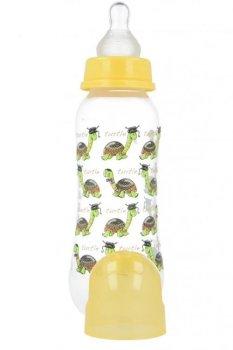 Пляшка пластикова з малюнком та силiконовою соскою 250 мл AKUKU А0005. (жовта з черепашкою).